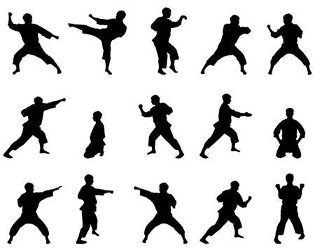 peleando: Negro conjunto de siluetas de la persona sobre un fondo blanco en el gran estilo de karate en su dise�o.