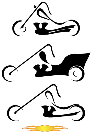 Stylistic design of motorcycles. Vector art in format. All motorcycles organized in layers for usability.