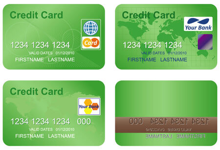 Design of a credit card. Three variants and underside. Vector art in format. All cards organized in layers for usability. The text has been converted to paths, so no fonts are required.  Stock Vector - 5587489