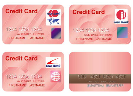 bankcard: Design of a credit card. Three variants and underside. Vector art in format. All cards organized in layers for usability. The text has been converted to paths, so no fonts are required.