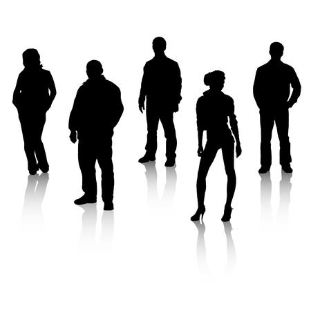 silueta masculina: Siluetas todos organizan en capas para la usabilidad.