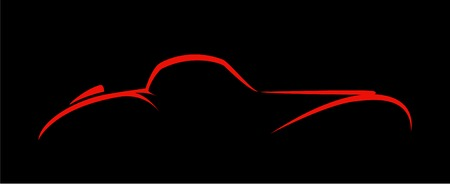 Silhouette of the old car on a black background. Illustration