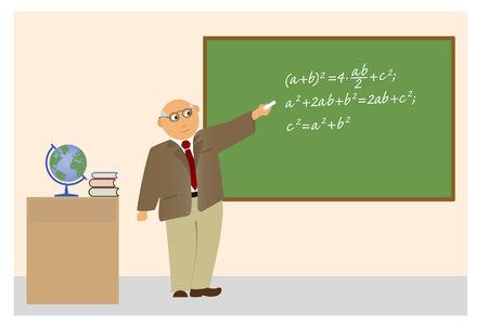 Le professeur âgé explique le Théorème de Pythagore.