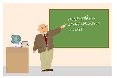 The elderly teacher explains the theorem of Pythagoras.