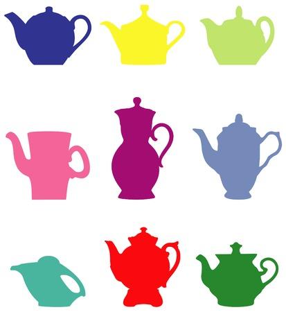 nouse: Teapot. Set of colour silhouettes. Vector art in EPS format. Illustration