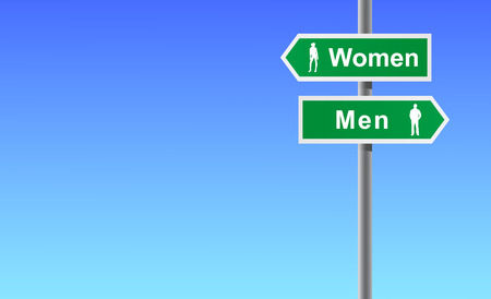 Arrows women men on sky background. Vector