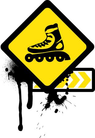 rollerskates: Grunge sign with roller skates.