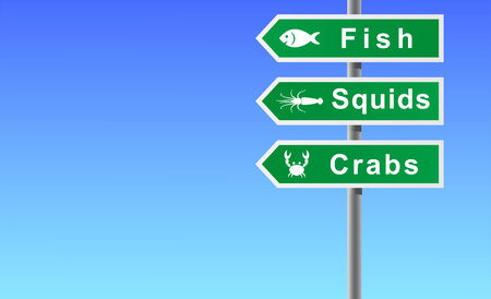 Sign fish squids crabs on sky background. Vector