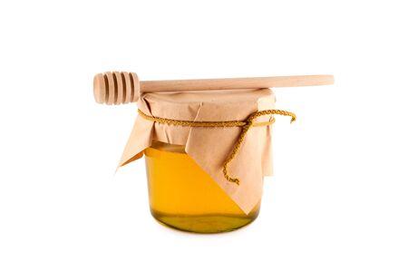 Honig, hölzernen Löffel, isoliert, weißer Hintergrund, Schneidepfad. Standard-Bild - 8104502
