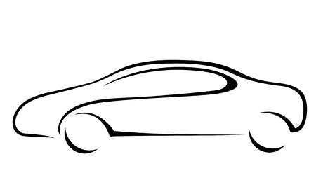 white car: Silhouette di auto per emblema. Formato vettoriale.