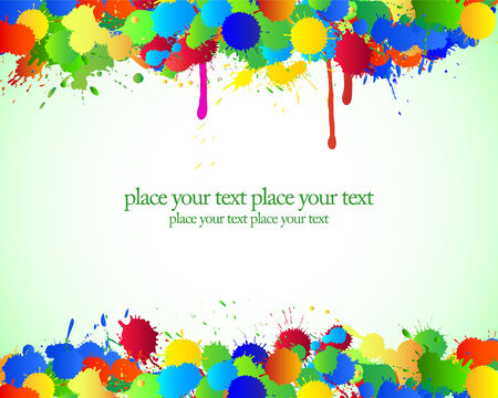 splotches: Color bright blots and stains on green background.