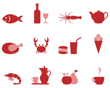Color icons food set vector format. Vector