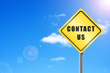 Traffic sign contact us  sky background. photo