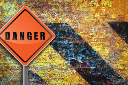 Traffic sign danger rusty wall. Stock Photo - 8520292