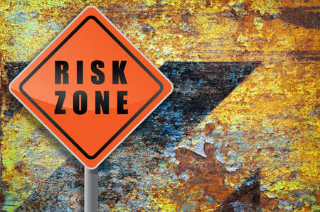 Traffic sign risk zone grunge background. Stock Photo - 8520291