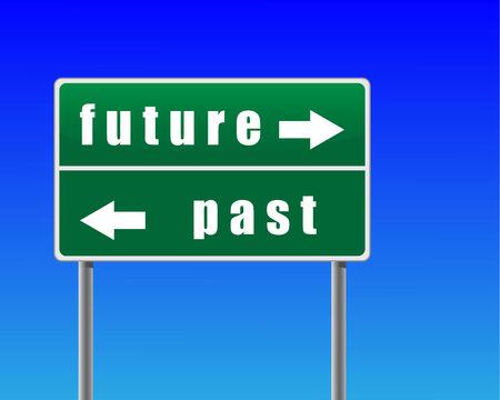 cruce de caminos: Se�al de tr�fico futuro pasado fondo de cielo.