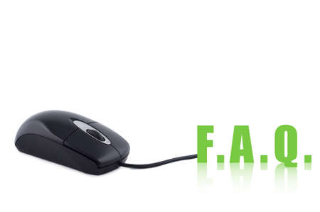 Computer mouse and word FAQ isolated concept. photo