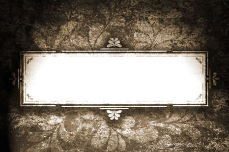Frame for text with curls on grunge sepia background. photo