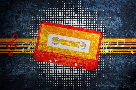 Musical grunge background with audiocassette. photo