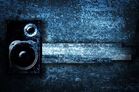 famous industries: Musical grunge background with speaker.