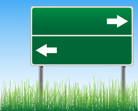 below: Empty signpost on sky background with arrows grass below. Illustration