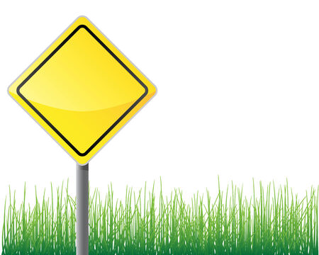 pointing herb: Empty traffic sign yellow color grass below.