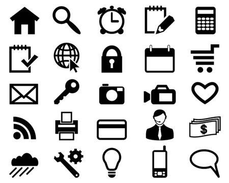 search icon: Pictogrammen voor web design zwarte kleur instellen Stock Illustratie