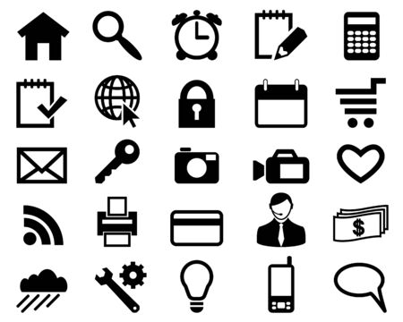 Set icons for web design black color Illustration