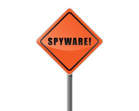 spyware: Poste indicador texto naranja spyware  Vectores
