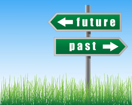 Arrows future past on sky background.Grass below. Vector