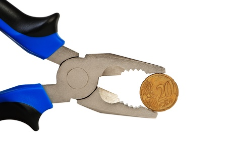 flatnose: Flat-nose pliers and coin isolated on white.