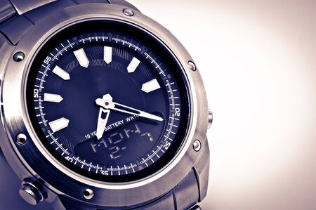 Mans watch close up photo. photo