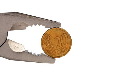 flat nose: Flat-nose pliers and coin isolated on white background.