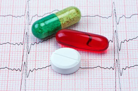 Tablets and capsules for cardiogram heart. photo