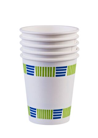 Paper cups isolated on white background without shadow.