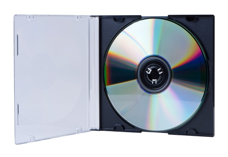 rewritable: CD in the open box  isolated on white background without shadow.
