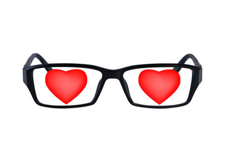 optometry: Eye glasses with hearts