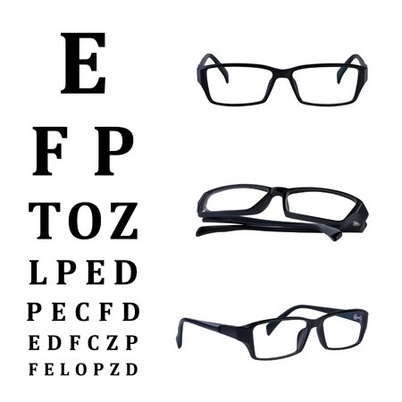 Eye glasses with eye chart isolated on white background without shadow. Standard-Bild