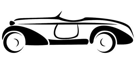Car silhouette. Design old automobile. Illustration