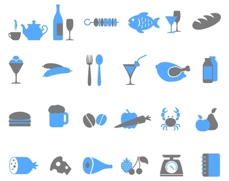 gray scale: Food icon set. Grey and blue colour.