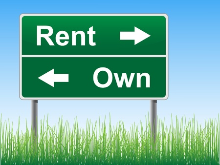 Rent and Own road sign on the sky background, grass underneath.