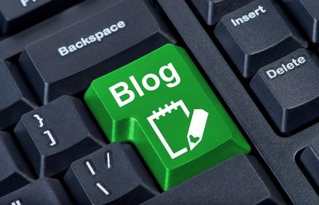 Green button with icon blog, internet concept. photo