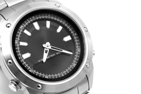 mans watch: Reloj del hombre de cerca. Fotograf�a blanco y negro.