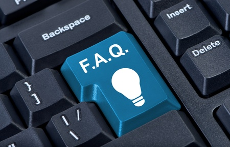 Button with icon lamp, F.A.Q. internet concept. photo