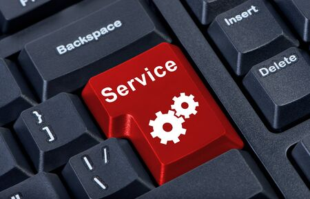 Red button service internet concept. photo