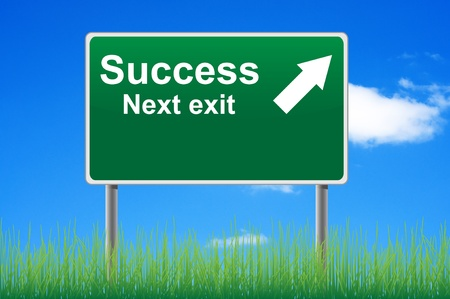 Success next exit road sign on sky background. photo