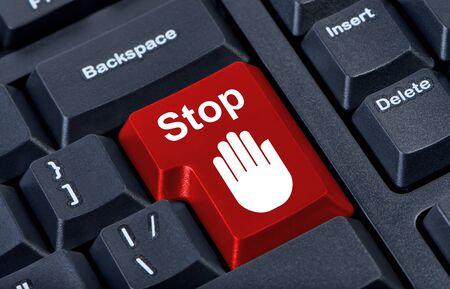 Button stop computer keyboard with hand icon. Stock Photo - 10392098