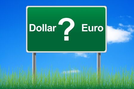 direction board: Dollar or euro, concept road sign on sky background.