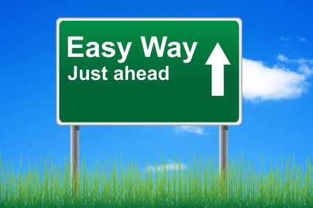 easy way: Easy way, concept road sign on sky background.