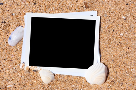 Empty photo on background beach sand. Vacation memories concept. photo